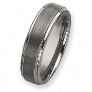 Tungsten Grooved Edge 7mm Brushed Polished Band Ring Sizing 13