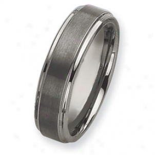 Tungstej Grooved Edge 7mm Brushed Polished Band Ring Size 7