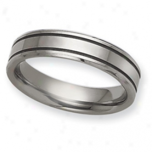 Tungsten Grooved Flat 6mm Polished Band Clique - Size 6.5