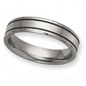 Tungsten Groovex Flat 6mm Polished Band Sound - Size 7.5