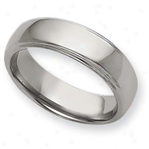 Tungsten Ridged 7mm Polished Band Ring - Size 10.5
