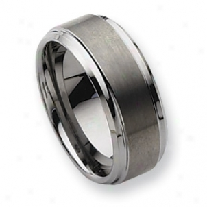 Tungsten Ridged Edge 9mm Brushed Polished Band Ring Size 9.5