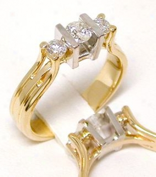 Two-tone Diamond Three Stone Ring