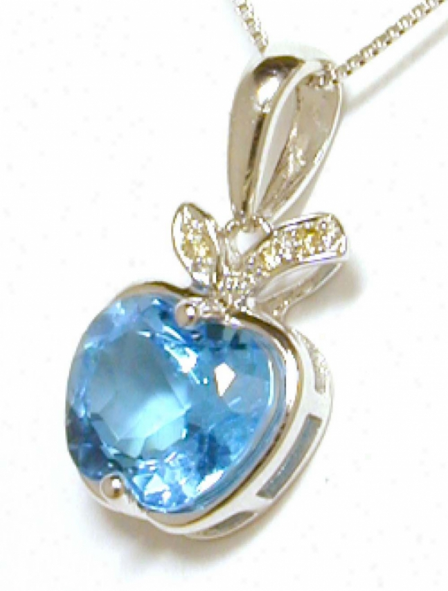 Unusual Blue Topaz &amp; Diamond Apple Pendant
