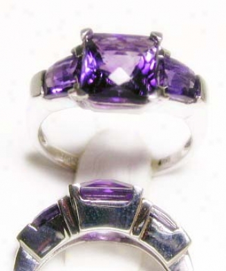 Unusual Cushion & Baguette Amethyst Ring