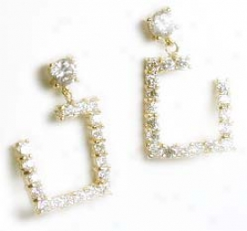 Unusual Twisted Square Cz Drop Earring
