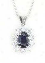 Wg Sapphire & Diamond Lady Di Pendant