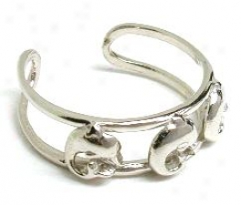 White Gold Dolphin Adjustable Toe Ring