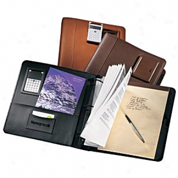 Andrew Philips Leather Goods  2in. 3-ring Binder With Pneumatic Calculator