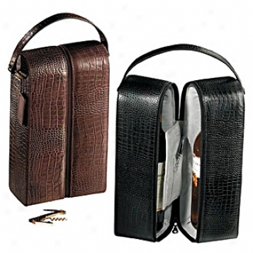 Andrew Phillips Leather Goods  Double Wine Holder