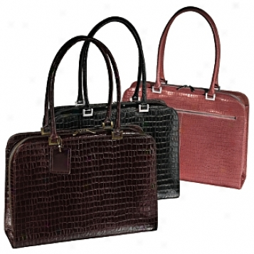 Andrew Philips Leather Goods  Women's Croco Laptop Briefcase