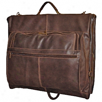 David King Leather Luggage Distressed Leather Deluxe 4-siut Garment Bag