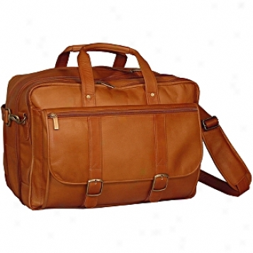 David Kin tLeather Luggage Expandable Laptop Briefcase