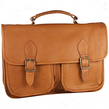 David King Leather Luggage Triple Compartment Flap-over Briefcase