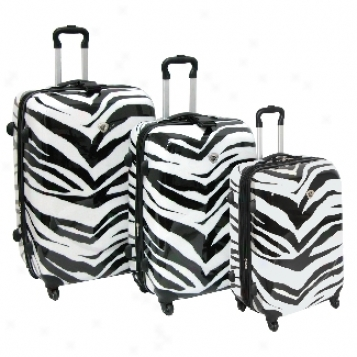 International Traveller Ultra-lightweight Shiny Zebra Print 3-piece Spinner Set