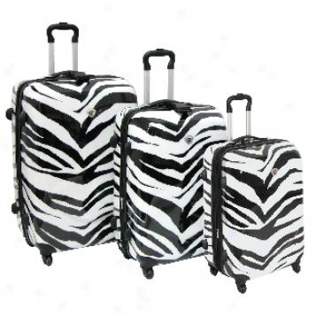International Traveller Ultra-lightweight Shiny Zebra Print 3-piece Spinner Set