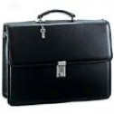 Jack Georges Platinum Collection Double Gusset Flap W/ Metal Frame And Combintation Lock