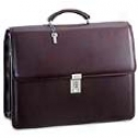 Jack Georges Platinum Collection Treble Gusset Flap W/ Metal Frame And Combination Lock