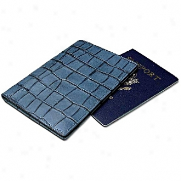 Kena Kai Datasafe? Sereis Crocodile Embossed Leather Passport Wallet