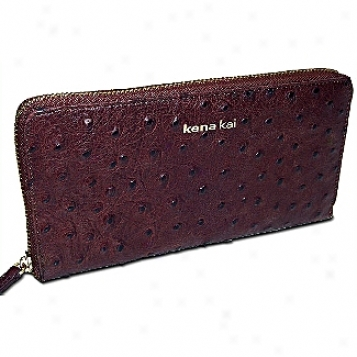 Kena Kai Datasafe? Series Women's Embosssed Ostrich Zippered Wallet
