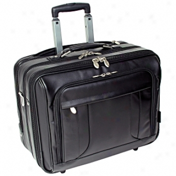 Mcklein Usa R Series Leather 17in. Wheeled Laptop Overnight