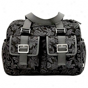 Oioi Sophisticaed Baby Bags Black Floral Jacquard Diaper Carry All