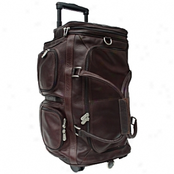 Piel Leather  Goods     22in. Duffel W/pocket On Wheels