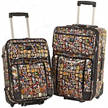 Sydney Love Travel          Vintage Hotels 2-piece Luggage Set
