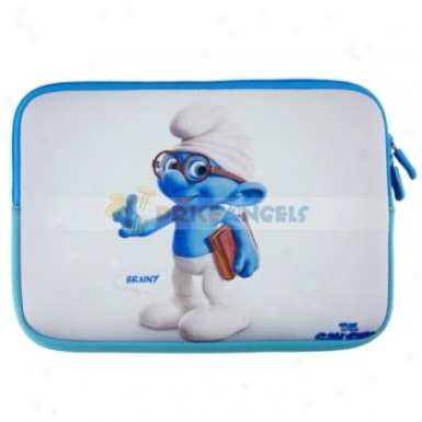 10-inch Anti-shock Dual Zipper Packge Case Pouch Bag Sleeve With The Smurf Pattern For Laptop Notebook Pc