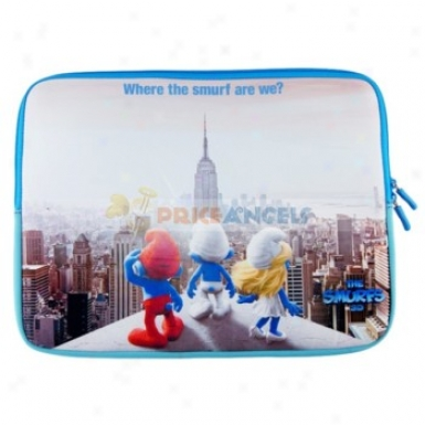 14-inch Anti-shock Dual Zipper Package Question Pouch Bag Sleeve With The Smurf Pattern For Laptop Notebook Pc