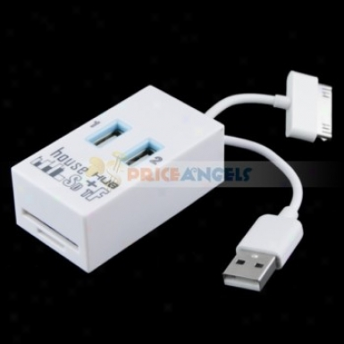 2 In 1 Function Usb 2.0 High Speed 2-port Hub Adapter Combo Sd/mmc/rs Carc Reader For Pc Laptop(white)