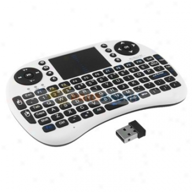 2.4g Wireless Rii Handheld iMni Qwert Keyboard 90-degree Flip Touchpad With Receiver oFr Pc/cell Phone (white)