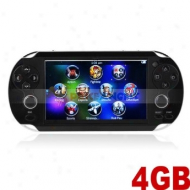 4gb 4.3-in Led Screen Handheld Game Console Mp5 Player W/ Camera/tf Slot/fm/tv-ouy(black)