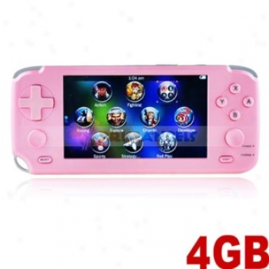 4gb 4.3-in Touch Screen Handheld Game Console Mp5 Player W/ Camera/tf Slot/fm/tv-out(pink)