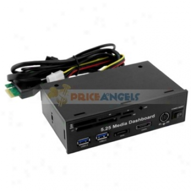 5.25-inch Media Dashboard Front Panel Pci-e To 2 X Usb 3.0 + Sata + Esata + Card Reader + Power Port Combo(black)