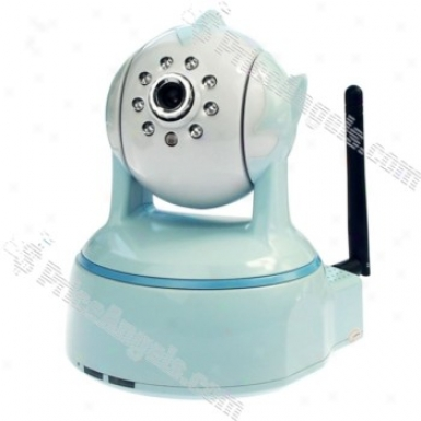 802.11b/g Wifi 300kp Mjpeg Ip Camera With Audio And 9-led Night Vision (light Blue)