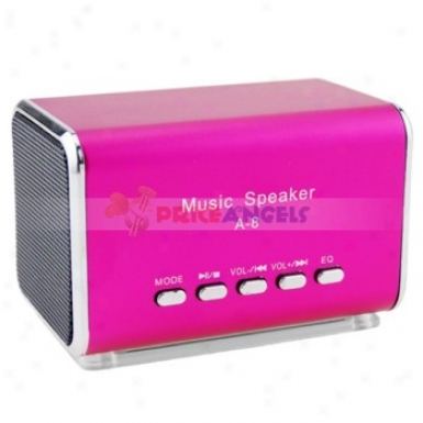 A-8 Portable Usb Mini Speaker With Tf Card Slot/fm For Mp3/mp4 Player(fuchsia)