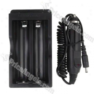 Ac/car Powered Lithium Battery Charger For 18650 (100v~240v/12~24v)