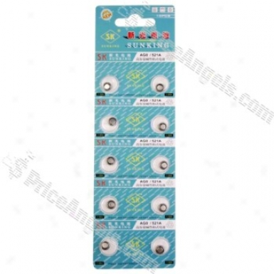 Ag0 Lr521 379 Sr521 179 1.55v Cell Button Batteries(10-pack)