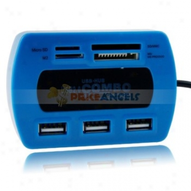 All In 1 3 Ports Usb 2.0 Hi-speed Card Reader Supports Sd/m/2sd/mmc Memory Card(blue)