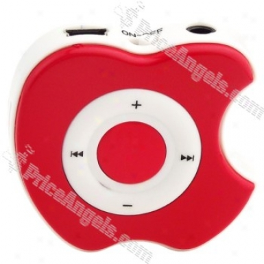 Apple Shaped Usb Rechargeable Screen Liberate Mp3 Media Player With Clip-red(tf Slot))