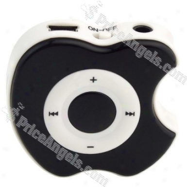 Apple Shqped Usb Rechargeable Protection Free Mp3 Media Player With Clip-black(tf Slot)