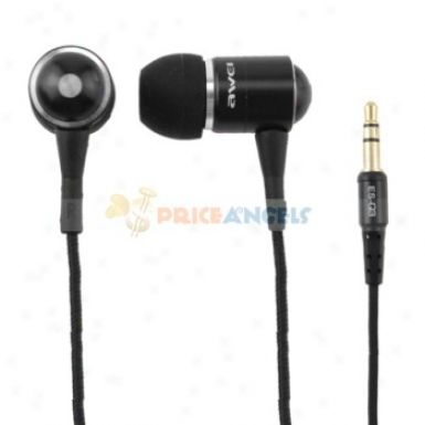 Awei 3.5mm Jack Noise Isolatino In-ear Eadphone Headphones For Cell Phone/computer(black)