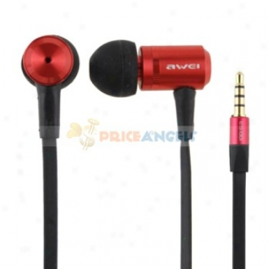 Awei 3.5mm Jack Noise Isolation In-ear Earphone With Microphone For Elementary corpuscle Phone/computer(red)