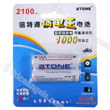 Btone Rechargeable 1.2v 2100mah Aa Mhr-3ug Batteries (2 Pieces Pack)