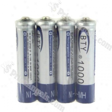 Bty 1.2v 1000mah Ni-mh Rechargeable Aaa Batteries (4-paack)