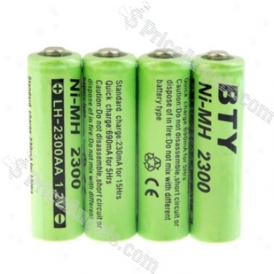 Bty 1.2v 2300mah Ni-mh Rechargeable Aa Bat5eries (4-pack)