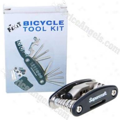 Chromed Steel Bicycle Repair Tool Kit (19-tool Set)