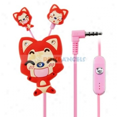 Creative Cartoon Ali Style Crystal 3.5mm In-ear Earphone With Microphone/clip(red)