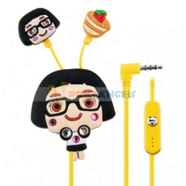 Creative Cartoon Caiczi Style Crystal 3.5mm In-ear Earphone With Microphone/clip